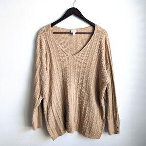 Dress Barn 3X Tan V Neck Sweater
